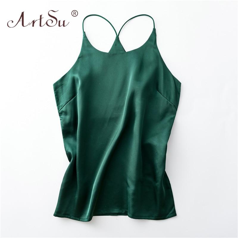 ArtSu S-XXXL Plus Size Spaghetti Strap Top Women Halter Basic Cami Sleeveless Satin Silk Tank Tops Summer Camisole 2020 Crop Top 2