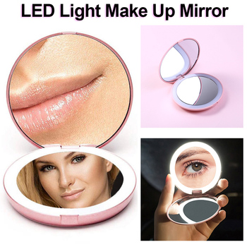 Makeup Mirror LED Folding Magnifying Round Cosmetic Mirror Portable Vanity Light Phone Light Beauty Makeup D30 folding makeup mirror with led light 5 times magnifying cosmetic mirror beauty ring light mirror photo fill light small mirrors