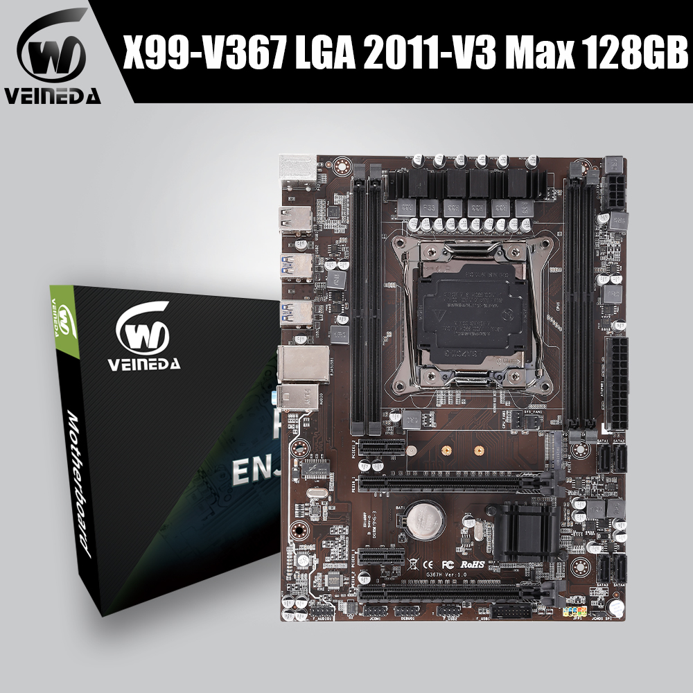VEINEDA x99 motherboard lga 2011 v3 with dual M.2 NVME slot Support four channels DDR4 memory ECC SATA3.0 USB3.0 image