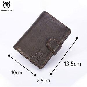 Image 5 - Cartera de cuero BULLCAPTAIN RFID para hombre, billetera corta con tres pliegues y cremallera, cartera, bolsillo para monedas con clip