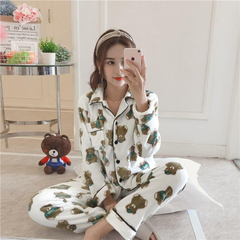 Ladies Pajamas Flannel Pajamas Coral Fleece Pajamas Cute Set Bear Print Long Sleeve 2 Piece Set Autumn Winter Pajamas Home Wear