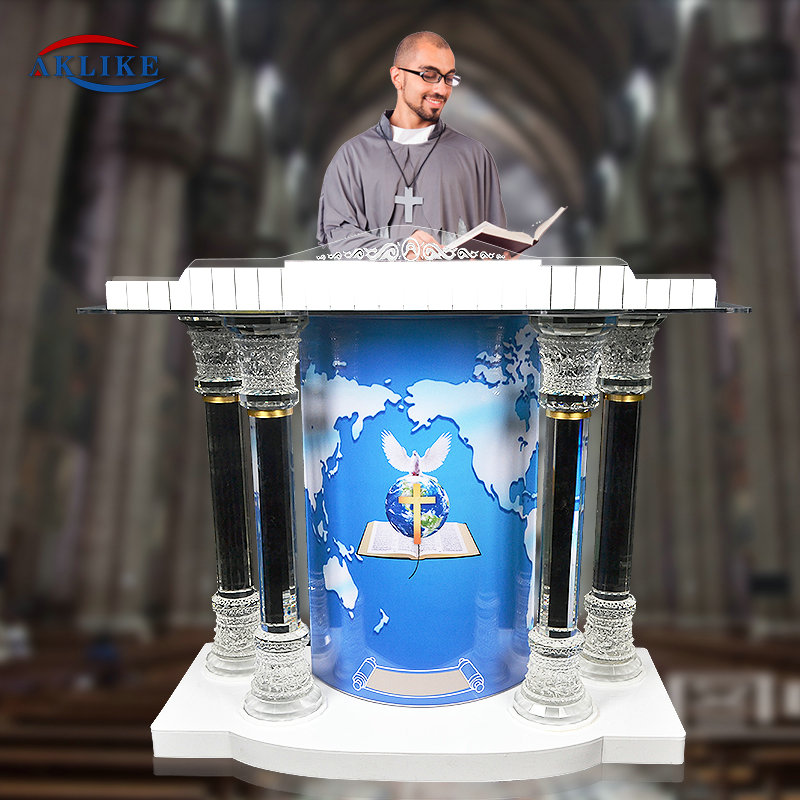 Modern Church Pulpit Furniture Acrylic Lectern Stand Pulpito Para Igreja AKLIKE Podiums Pulpits Glass Speech Table Rostrum