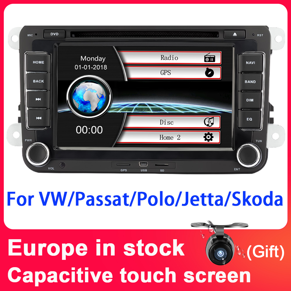 7 Eunavi ''2 din Player Multimídia Carro DVD GPS de Navegação para VW Volkswagen Polo New Bora JETTA PASSAT GOLF 6 B6 SKODA Rádio RDS