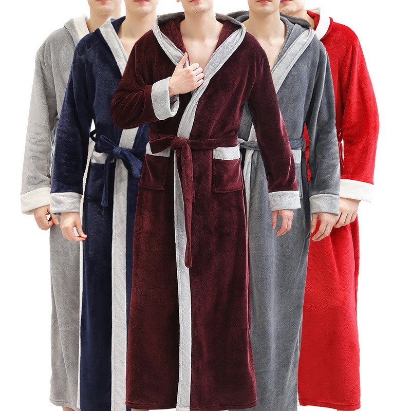 2019 Winter Thick Bathrobe Warm Men Coral Fleece Kimono Robe Mens Nightgown Bath Gown Robe Loose Soft Long Nightwear Sleepwear