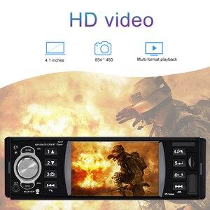 Image 2 - 1 din 4.1 Polegada rádio do carro tf usb carregamento rápido peças de automóvel bluetooth 4.2 iso remoto multicolorido iluminação áudio vídeo mp5 player