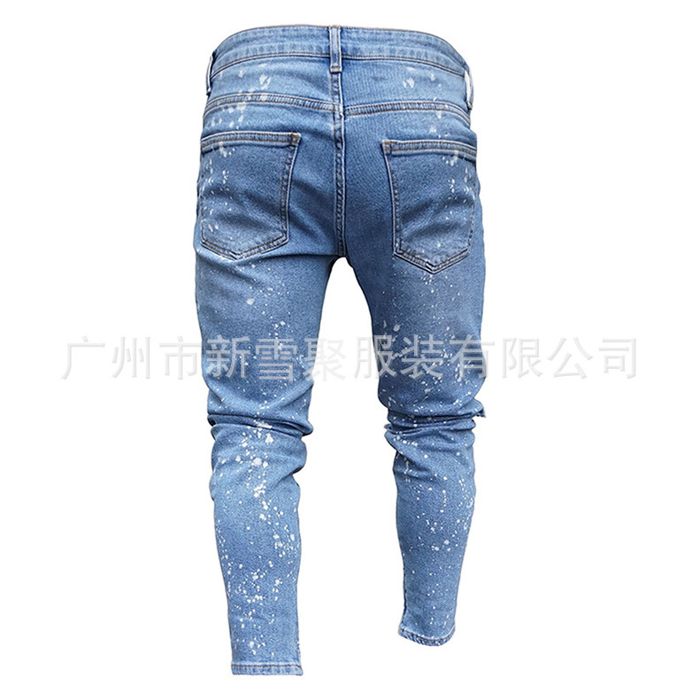 Europe And America Hot Selling New Style MEN'S Jeans Snowflake Point Elasticity Casual With Holes Skinny Trousers