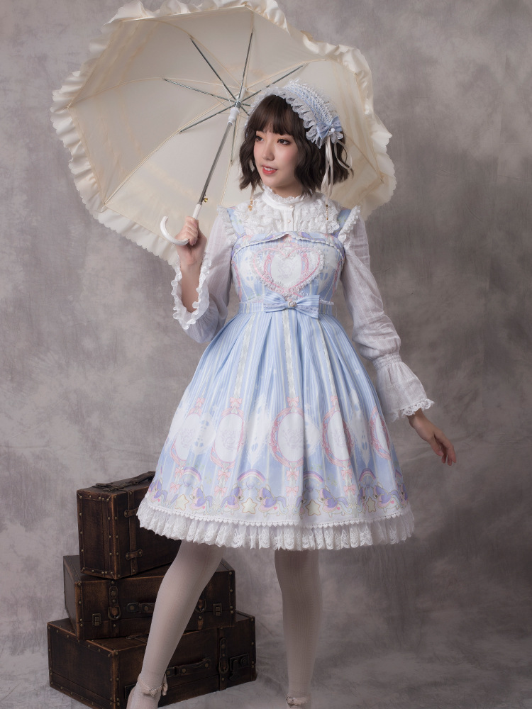 Lolita Original licorne etoiles sans manches Lolita robe fille robe ensemble complet