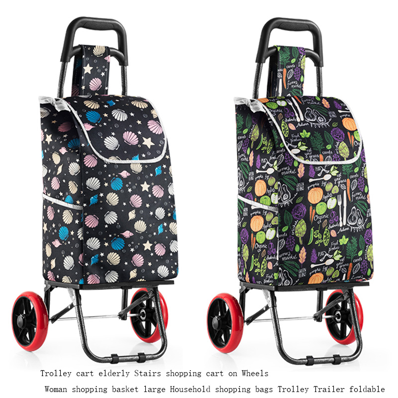 Trolley Cart Elderly Stairs Shopping Cart On Wheels Woman Shopping Basket Large Household Shopping Bags Trolley Trailer Foldable