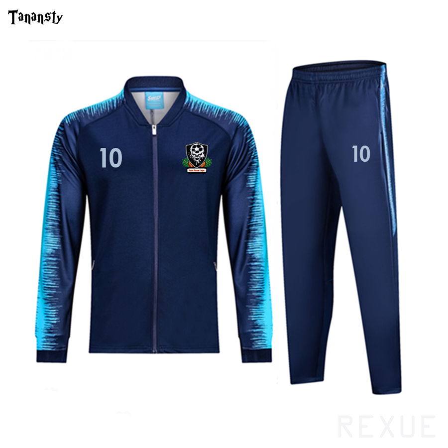 REXUE Adult Soccer Tracksuit Jackets And Pants Zipper Coat Soccer Running Outdoor Winter Sports Uniform Running Suit Logo Number