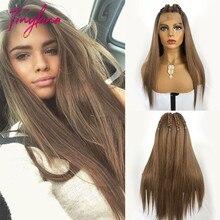 Küçük LANA uzun ipeksi düz kahverengi sarışın dantel ön peruk bebek saç ile ısıya dayanıklı 100% Futura sentetik peruk kadınlar için