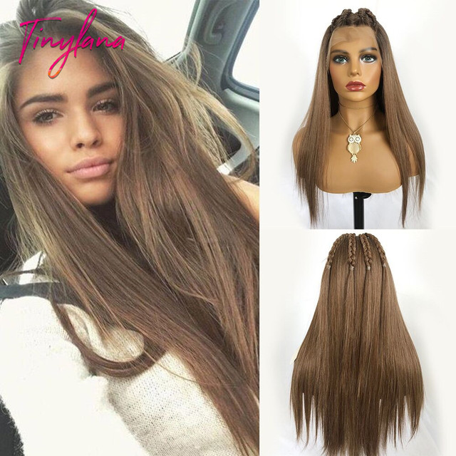 TINY LANA Long Silky Straight Brown Blonde Lace Front Wig with Baby Hair Heat Resistant 100%Futura Synthetic Wigs for Women