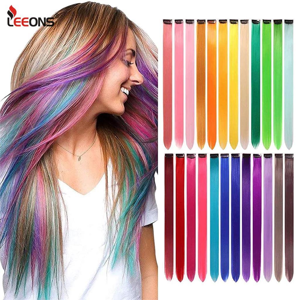 Leeons синтетические удлинители волос с зажимами термостойкие прямые удлинители волос цвет ed черный зажим для волос для женщин 12 г/шт.