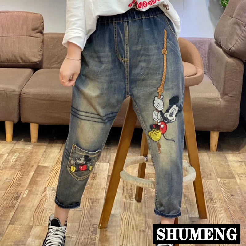 2020 Spring New Women Retro Embroidered Cartoon Jeans Casual Loose Harem Pants Female Elastic Waist Ankle Trousers Mom