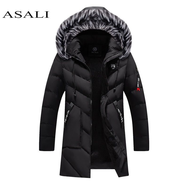 Parkas Men Winter Jacket Long Thicken Coat Fleece Warm Cotton Jaqueta Masculina Big Fur Hooded Outwear Overcoat Drop Shipping