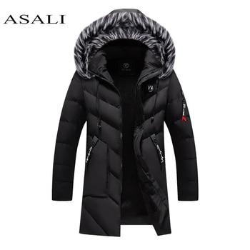 Parkas Men Winter Jacket Long Thicken Coat Fleece Warm Cotton Jaqueta Masculina Big Fur Hooded Outwear Overcoat drop shipping