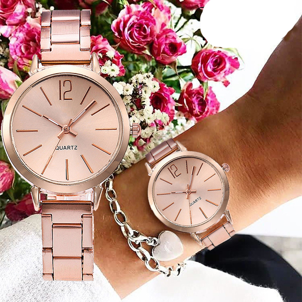 2019 New Stainless Steel Belt Women Watch Classic Minimalist Rose Gold Clock Alloy Analog Ladies Quartz Wrist Watches Relogio 50
