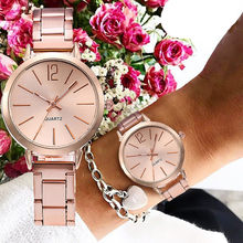 2019 New Stainless Steel Belt Women Watch Classic Minimalist Rose Gold Clock Alloy Analog Ladies Quartz Wrist Watches Relogio 45(China)