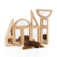 Brinquedos educativos do bebê montessori blocos de construção de madeira com espelho acrilic sensorial conjunto brinquedo tamanho grande 24 pces