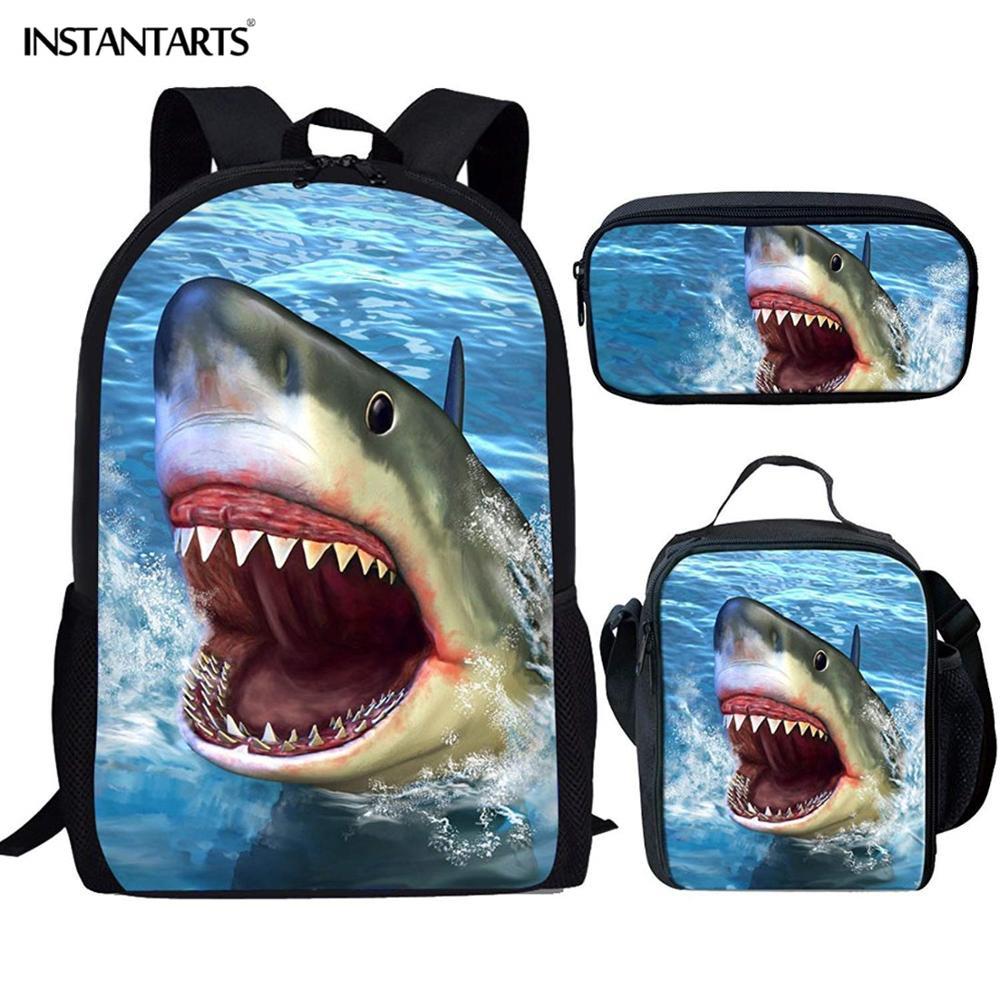 INSTANTARTS 3D Fierce Animal Shark Prints Backpack Cool School Bag For Teenage Boy Kids Travel Satchel Mochilas Child Book Bags