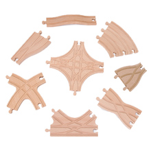 New Intersection Star Track Wooden Railway Straight and Curved Expansion Track Accessories Wooden Train Tracks Set fit All Brand