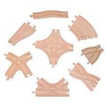Novo interseção estrela pista ferroviária de madeira reta e curvada expansão conjunto de trilhos de madeira adequado para todas as marcas