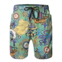 Męskie spodenki plażowe szybkoschnące kąpielówki męskie ośmiornice i morskie podróże mężczyźni stroje kąpielowe strój kąpielowy kostiumy kąpielowe plażowe szorty kąpielowe tanie tanio Cartoon Poliester