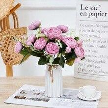 5 Heads Artificial Flowers Bride Bouquet Fake Rose bouquet flores For Wedding Home Party Decoration