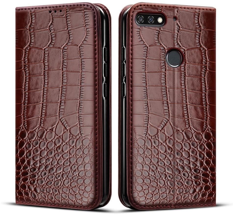 Чехол для Huawei Y6 2018 дюйма, Искусственный Мягкий силиконовый чехол из ТПУ с крокодиловой текстурой, кожаный чехол для Huawei Y6 Prime 5,7
