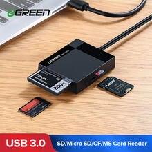 Ugreen USB 3.0 czytnik kart SD Micro SD TF CF MS kompaktowa karta Flash OTG Adapter do laptopa czytnik kart 4 w 1 czytnik kart