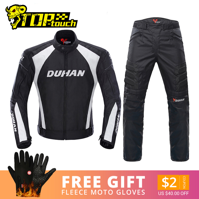 אופנוע גברים מוטוקרוס חליפות Jacket & מכנסיים Moto מעיל ציוד מגן שריון אופנוע בגדי רכיבה מעילים