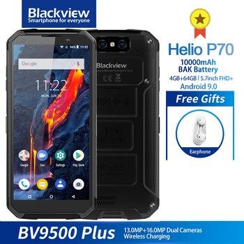 Перейти на Алиэкспресс и купить Blackview BV9500 Plus смартфон с 5,7-дюймовым дисплеем, восьмиядерным процессором Helio, ОЗУ 4 Гб, ПЗУ 64 ГБ, 10000 мАч, Android 9,0