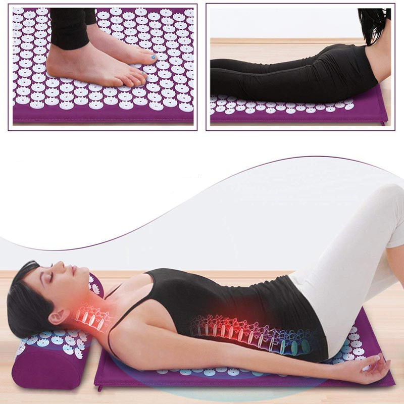Massage Mat Acupressure Mat Yoga Lotus Spike Relieve Back Body Pain Spike Applicator Yoga Mat Bag Pranamat коврик для фитнеса