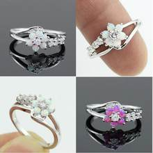 European and American style flower ring Elegant Cubic Zirconia White gold Ring Crystal Engagement Wedding Ring for Women Jewelry(China)