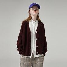 Toyouth עצלן סגנון נשים חלול החוצה ארוך שרוול סוודרים Loose מוצק אחת חזה V צוואר סוודר