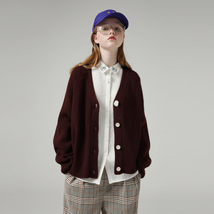 Image 1 - Toyouth 게으른 스타일 여성 중공업 긴 소매 스웨터 느슨한 솔리드 싱글 브레스트 v 넥 스웨터