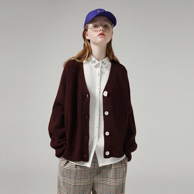 Toyouth 게으른 스타일 여성 중공업 긴 소매 스웨터 느슨한 솔리드 싱글 브레스트 v 넥 스웨터