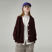 Женский однобортный свитер с V образным вырезом и длинным рукавом