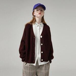 Image 1 - Женский однобортный свитер с V образным вырезом и длинным рукавом