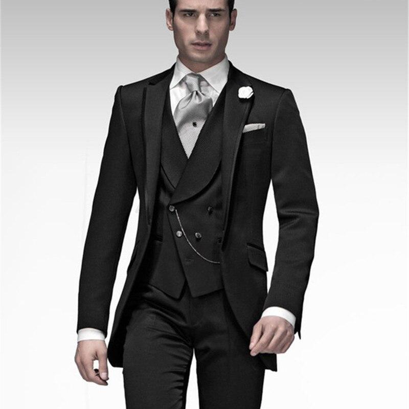 Costume Homme Mens Suit (Jacket+Pants+Vest+Tie) Groom Tuxedo Black Groomsmen Wedding/Dinner Suits Best Man Bridegroom
