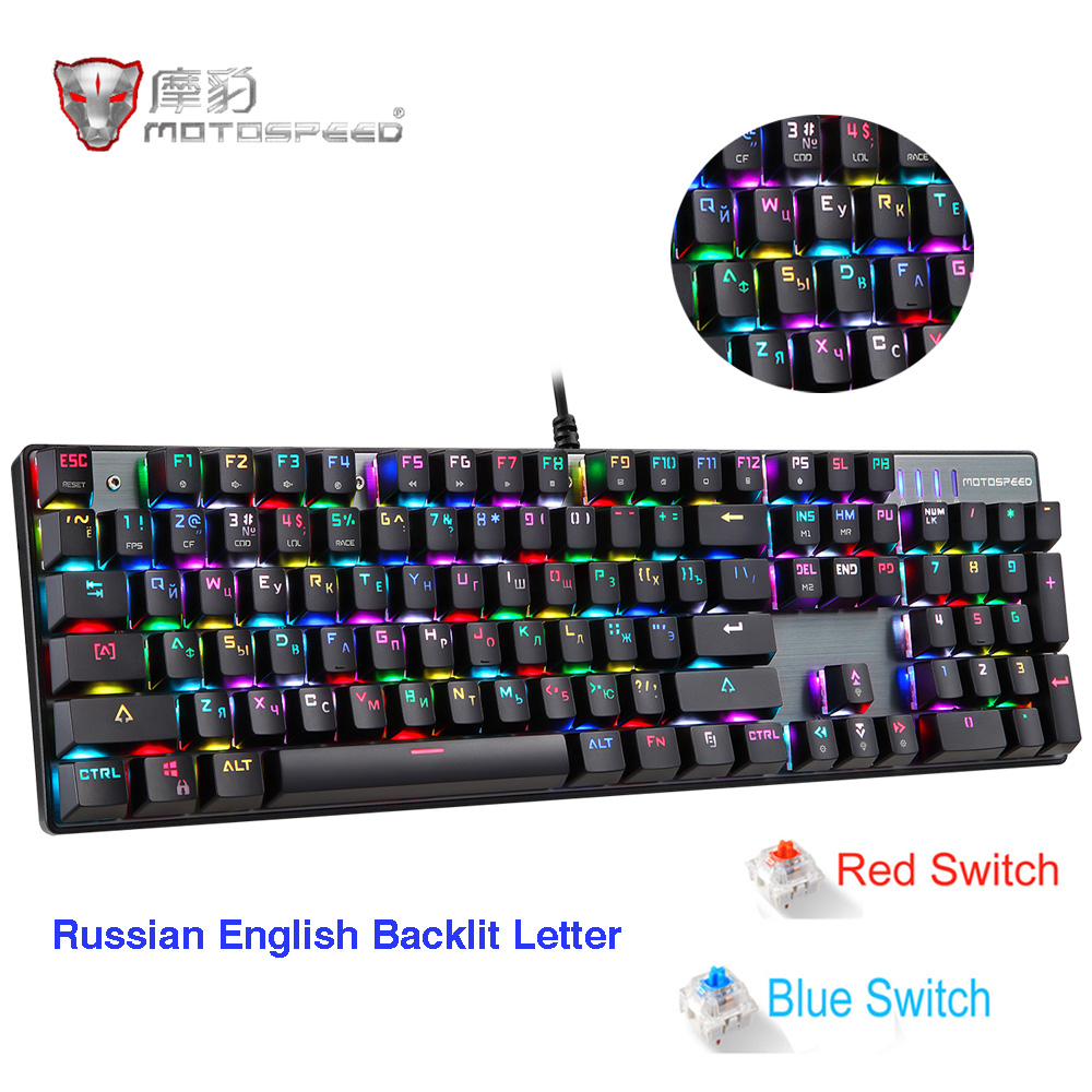 Motospeed CK104 Gaming Mechanical Keyboard Russian English Red Switch Blue Metal Wired LED Backlit RGB Anti Ghosting for gamer|Keyboards| |  - title=