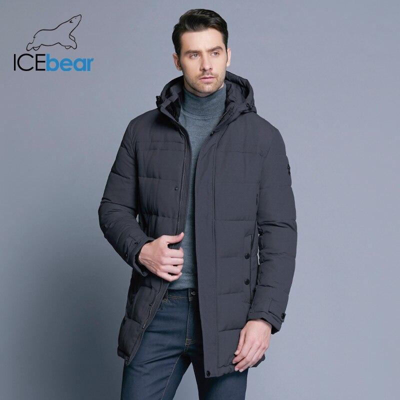 ICEbear 2019 мягкая ткань зимняя мужская куртка утепленная Повседневная хлопковая куртка зимняя средней длины парка Мужская брендовая одежда ...