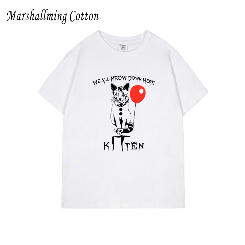 100% cotton men's t shirt xs - 5xl size balloon kitten cat it graphic print tees white streetwear horrow film <font><b>parody</b></font> <font><b>tshirt</b></font> image