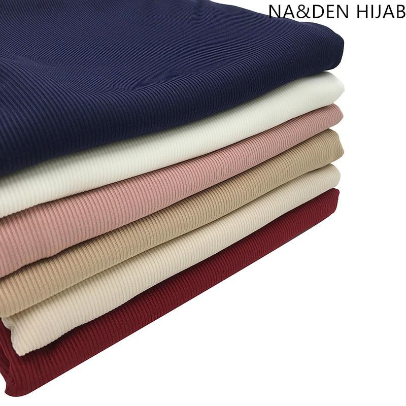 1PCS NEW Malaysia Muslim Headscarf Islamic Breathable Hijab Hi-Q Basic Stretch Ribbed Jersey Bandana Women Muffler Solid Scarf