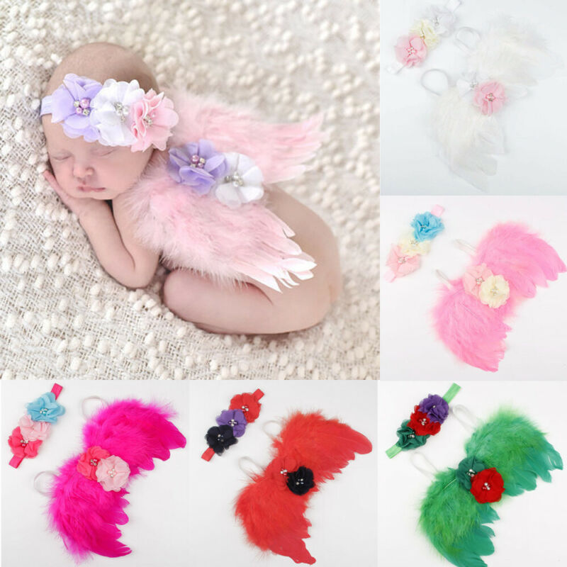 New Newborn Baby Wings+Headband Flower Costume Photo Photography Prop Outfits 0-6M