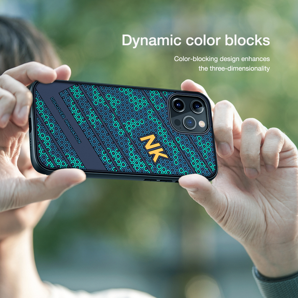 Smooth Shockproof Silicone PC Back Cover 3D Honeycomb Texture Case for iPhone 12 Pro Max 3