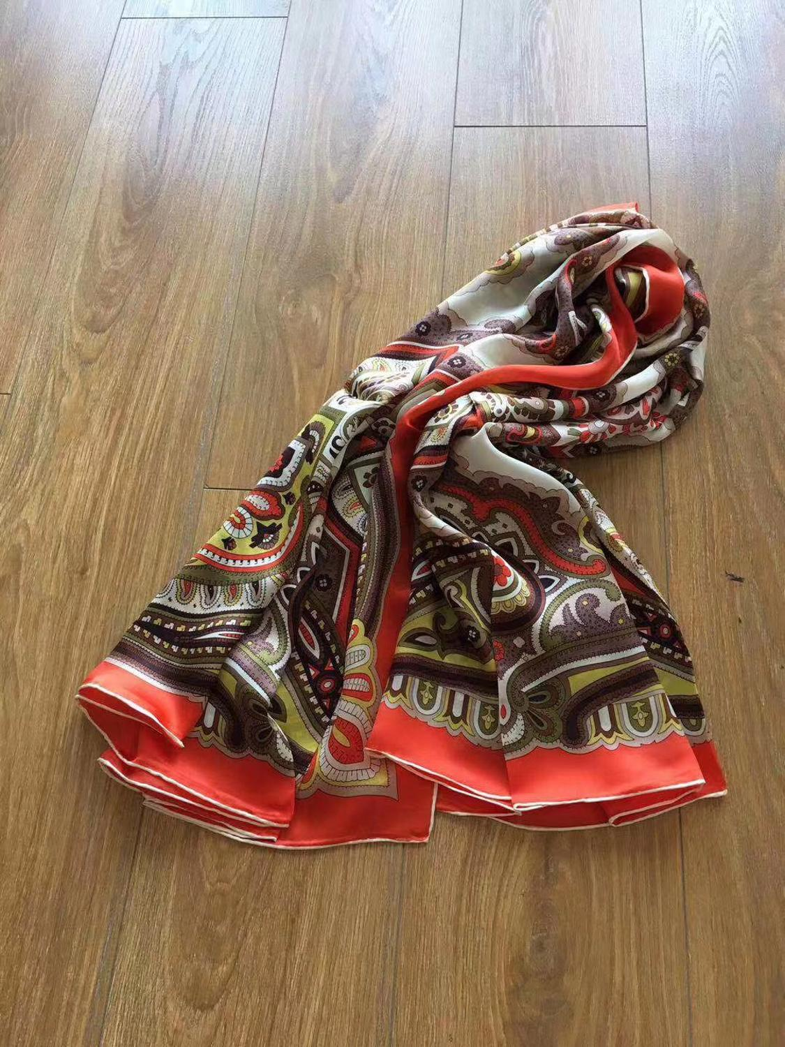 2019 new arrival  brand colorful Paisley 100% satin georgette  scarf 140*140 cm square big shawl wrap for women lady
