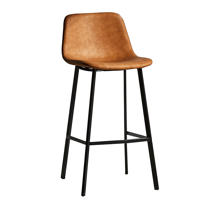 Nordic Iron High Stool Leisure Cafe Back Metal Bar Chair Home Simple   Restaurant Dining  Black For Sale