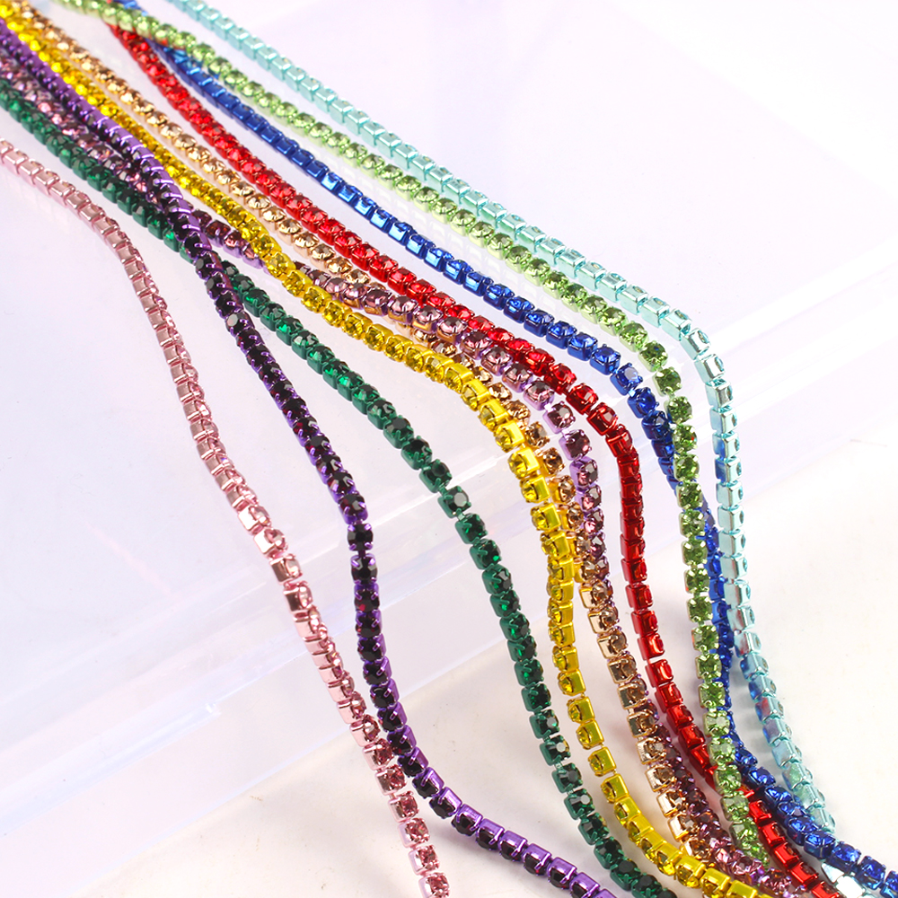 Hot Sale SS6 14Color Rhinestones Chain Same Color Bottom and Stones Glass Rhinestones Trimming Crystal Cup Chain