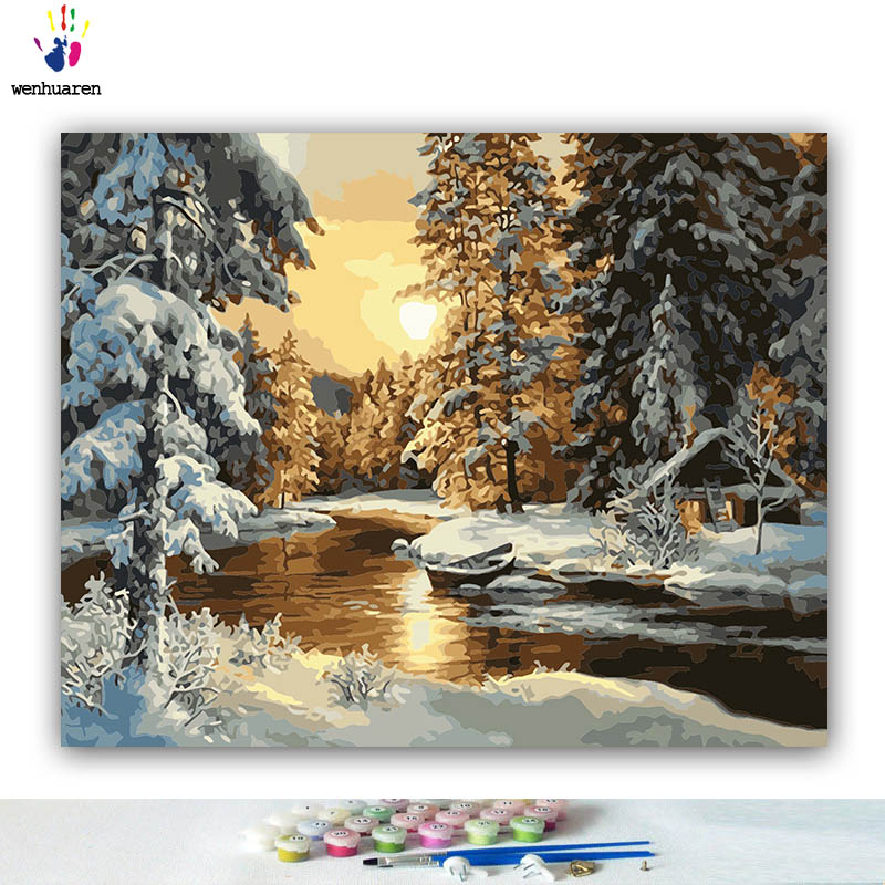 DIY Coloring Paint By Numbers Sunset Woods Snow Scene Abstract Figure Paintings By Numbers With Kits 40x50 Framed