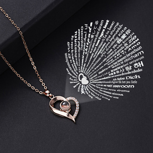 Projection 100 Languages I Love You Necklace Women Love Memory Heart Pendant Necklace Lovers Clavicle Chain Collar Charm Choker
